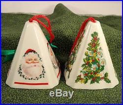 Pair Jasco Ceramic Potpourri Holder Pyramid Christmas Ornaments Santa & Holly