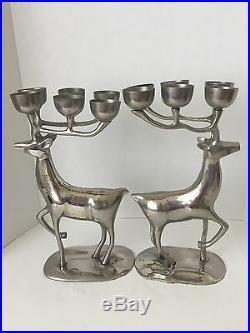 Pair Silverplate 13 1/2 DEER Reindeer 6 candle holder Christmas CANDELABRA