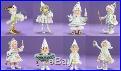 Patience Brewster Mini Moonbeam Silver White Reindeer Elf Christmas Ornaments