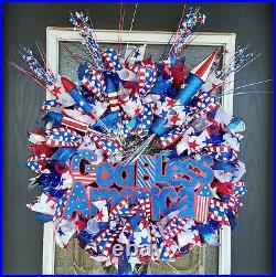 Patriotic 4th July Front Door Wreath God Bless America Memorial Day Summer Decor