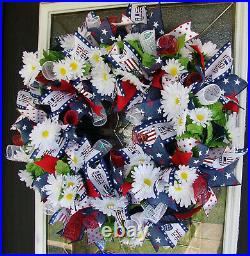 Patriotic 4th of July Floral Daisy USA Front Door Wreath Home Decor Decoration