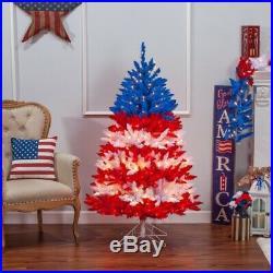 Patriotic American Tree, 5 ft, 495 UL Clear Lights & 5 Twinkle Lights