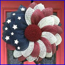 Patriotic Independence Wreath For Front Door Fourth Decor of July Wreath J8G7