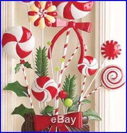 Peppermint Candy Holiday Topiary Outdoor Christmas Yard Decoration 35-3/4H Iron