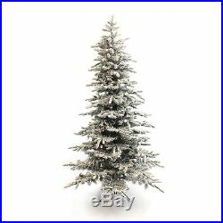 Perfect Holiday 6.5ft Pre-lit Snow Flocked Christmas Tree Clear LED Diameter 50