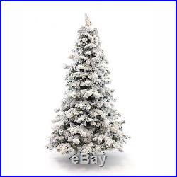 Perfect Holiday Pre-lit Christmas Tree Alaskan Snow Flocked 6.5 feet 500 LED
