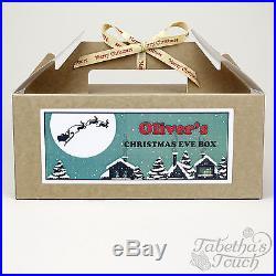 Personalised Christmas Eve Box Kraft Brown Party Gift Bag Santa Design