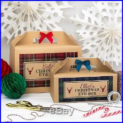 Personalised Christmas Eve Box Tartan Kraft Brown Party Gift Bag
