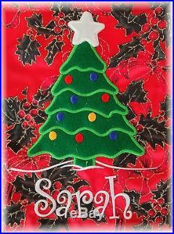 Personalised Christmas Sack Christmas Tree design 2 sizes Any Name