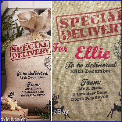 Personalised Christmas Santa Sack Hessian Vintage Style