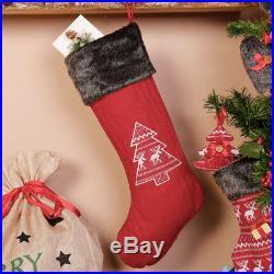 Personalised Christmas Stocking Festive Luxury Nordic Tree Fake Fur
