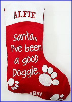 Personalised Christmas Stocking Red Dog Hanging Gift Pet Xmas Present Name Sack