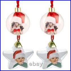 Personalised Christmas Tree Photo Baubles Set Xmas Ball Star Ornament Decoration