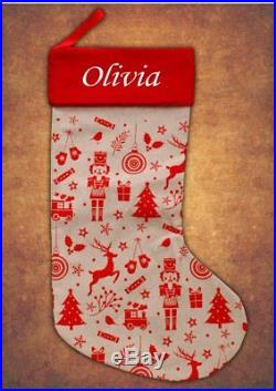 Personalised Deluxe Kids Luxury Embroidered Xmas Stocking Hessian Christmas 2017