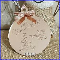 Personalised Engraved Baby's 1st Christmas Bauble Rose Gold Tree Decoration Gift