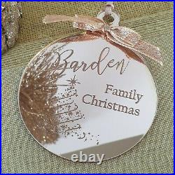 Personalised Engraved Christmas Bauble Rose Gold Tree Decoration Gift Xmas