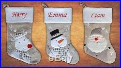 Personalised Kids Luxury Embroidered Xmas Stocking Grey Christmas 2017