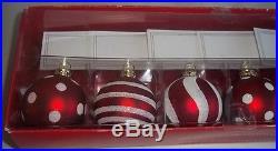 Pier 1 Christmas Place Car Holders NIB Red Ornament Balls White Glitter Set of 6