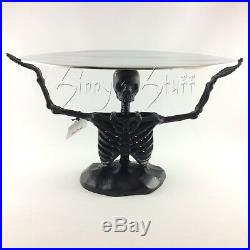 Pier 1 Halloween Aluminum Skeleton Cake Stand Silver Serving Platter Tray NIB