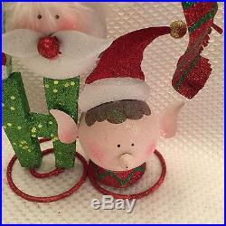 Pier 1 One Glitter HO HO HO Elves Elf Christmas Holiday Decor NWT Adorable