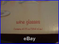Pier 1 Wine Glasses Red White Candy Cane Striped Christmas Holiday New in Box