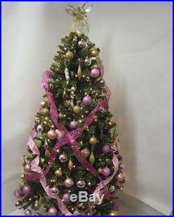 Pink/Gold Decorations & Pre-Lit 6.5FT Christmas Tree