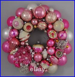 Pink Pastel Vintage Christmas Ball Ornament Wreath Shiny Brite Mercury Glass 16