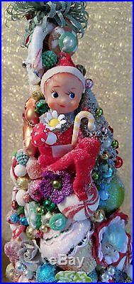 Pixie Elf Sleigh with Large Bottle Brush Tree Knee Hugger Elf MADE TO ORDER