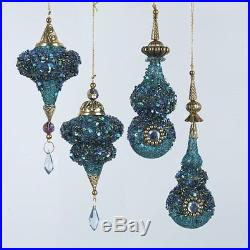 Plastic Glittered Peacock Icicle Christmas Ornaments, Set of 4, by Kurt Adler