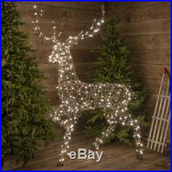 Plug in or Battery Power LED Outdoor Wicker Reindeer Christmas Decoration
