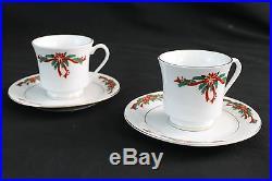 Poinsettia & Ribbons Fine China Christmas Holiday 52-pc Dishware Set