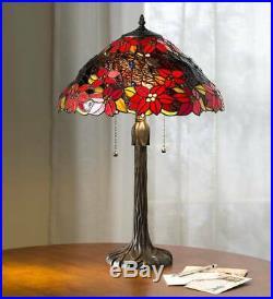 Poinsettia Tiffany Holiday Table Lamp