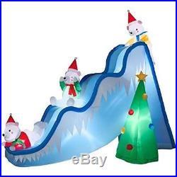 Polar Bear KIds on Slide LED Inflatable Airblown 9 Ft Christmas Yard decor