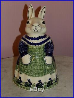 Polish Pottery Bunny Cookie Jar! Bunny Pattern