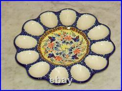 Polish Pottery Egg Plate! UNIKAT Signature Butterfly Summer Pattern