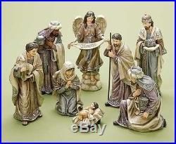 Porcelain Christmas Nativity Figurine Set 32064 Roman 8 pieces Soft Colorway New