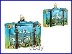 Portland Oregon Travel Suitcase Glass Christmas Ornament Mt Hood Decoration