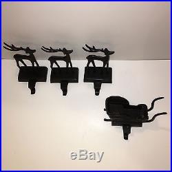 Pottery Barn (1) SANTA'S SLEIGH & (3) DEER Reindeer STOCKING HOLDER holders S/4