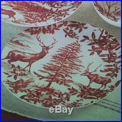 Pottery Barn ALPINE TOILE DINNER PLATES Red Deer Plate REINDEER STAG SET of 4
