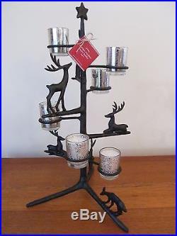 Pottery Barn Antique Bronze Reindeer Votive Tree New