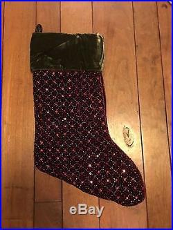 Pottery Barn Beaded Stocking NWOT Gorgeous Sequins & Beads Red & Green Velvet