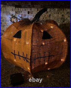 Pottery Barn Burlap Rustic HALLOWEEN Jack O' Lantern Smiling Pumpkin With Lights