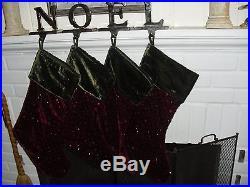 Pottery Barn Christmas Holiday Red & Green Velvet Sequin Stockings & NOEL hooks