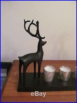 Pottery Barn Christmas Reindeer Votive Candle Holder Centerpiece NIB