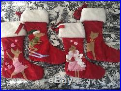 Pottery Barn Christmas STOCKING -set of 4 Rudolph reindeer collection RARE