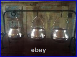Pottery Barn Copper Cauldron Triple Condiment Metal Serve Set Halloween Serving
