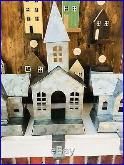 Pottery Barn GALVANIZED VILLAGE STOCKING HOLDER Single Double Story Set 3 House