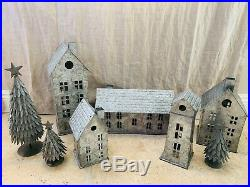 Pottery Barn Galvanized House Small Medium Tall Mill Train Station Trees Set