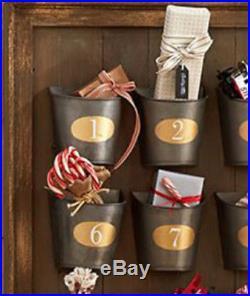 Pottery Barn Gilt Galvanized Advent Calendar 34H Wall Mount Christmas NIB
