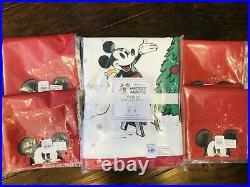 Pottery Barn Kids Mickey Mouse Holiday Tablecloth Napkins Christmas Disney Set